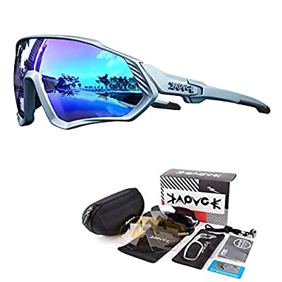 KAPVOE Cycling Glasses Polarized MTB Sunglasses Mountain Bike Sports Motorcycle Fishing Golf Baseball Skiing Climbing TR90 Frame UV400 Protection(09)
