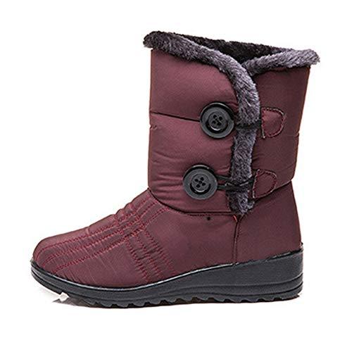 Giytoo 1 paar Womens winterlaarzen waterdicht antislip enkellaarsjes outdoor warme bont gevoerde schoenen