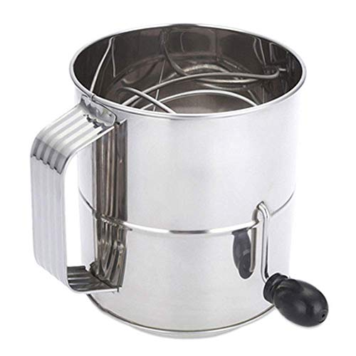 8 Cup Stainless Steel Flour Sifter, Hand Crank Flour Sifter for Baking Sugar Powder Sieve Cup Fine Mesh Screen Corrosion-Resistant Flour Dredger Decorate Cakes, Pies, Pastries