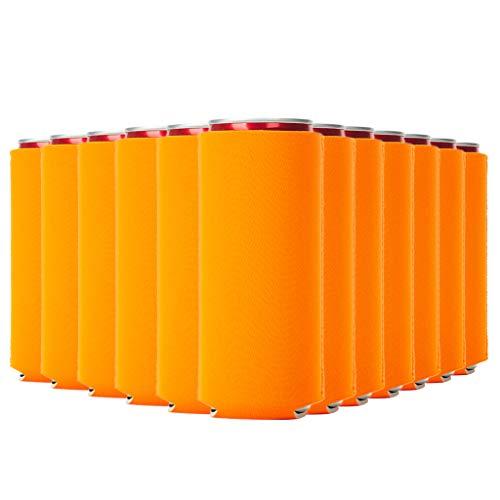 Set of 12 Blank Slim Can Coolers, 12 Neoprene slim can sleeves, 12oz Blank Beer Skinny Can Cooler, Perfect Sublimation Slim Can Cooler (Neon Orange)