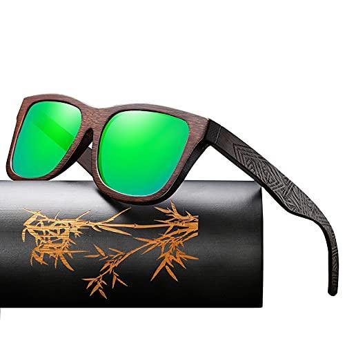 Gafas de sol 100% de madera, polarizadas, marco de madera, estuche de madera, para hombres y mujeres, color Verde, talla Talla única