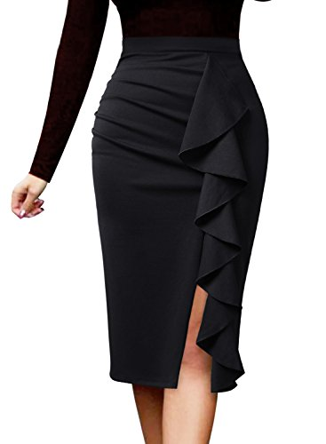VFSHOW Women Elegant Ruched Ruffle Slit Work Business Party Pencil Skirt 2511 BLK L