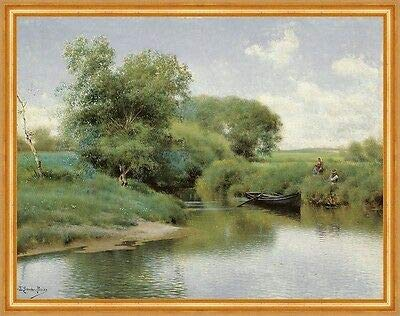 Kunstdruck Boating on The River Emilio Sanchez-Perrier Boot Fluß Wiese Ufer B A2 01672