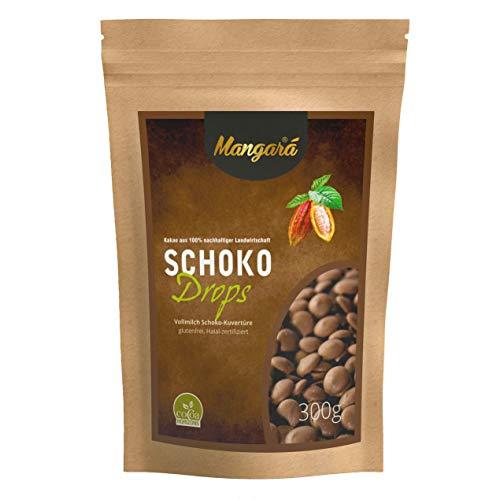 300 g Vollmilch Schokoladen Drops • hochwertige Mangará® Qualität • nachhaltig angebauten Kakaobohnen • nicht Gen-manipuliert (non GMO), Ausgeglichener lieblicher Kakaogeschmack.