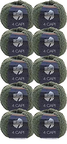 Lana Grossa 4 Capi - Gomitolo di lana da 500 g, colore: verde oliva