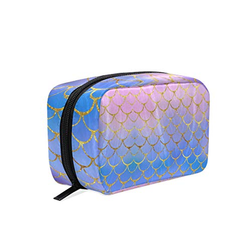 ZOEO Makeup Train Case Purple Mermaid Scales Marble Fish Light Summer Gold Korean Carrying