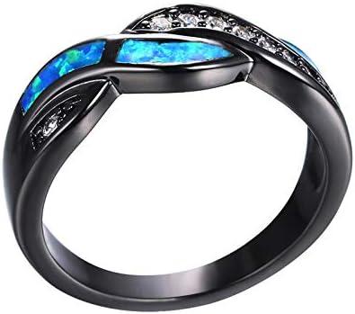 Fashion Blue Fire Max 89% OFF Opal Cz Cross Ring Black Ranking TOP9 Women Men for Vintage