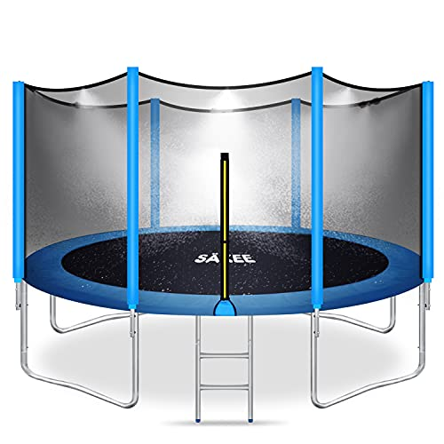 SÄKEE Trampolines with Sprinkler Enclosure Safety Net for Kids 15 14 12 10 8 FT Outdoor Trampoline with Wind Stakes for Children Adults Family Backyards