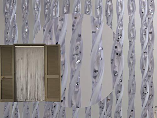Cirillo Tende Tenda/Moschiera PVC –Modello Capri - Asta in Alluminio - Made in Italy - Misure Standard (90X200/95X200/100X220/120X230/130X240/150X250) - (cm 130x240h, 11 - Bianco Glitter Argento)