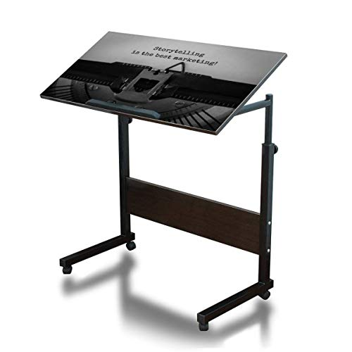 Adjustable Text Storytelling is The Best Marketing typed on Retro Typewriter Over Bed Side Table Movable C Shaped Steel Frame Computer Desk for Bed Sofa Couch Home Office Dark Walnut