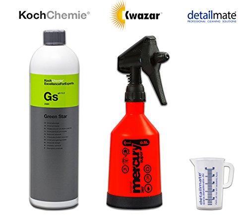 Koch Chemie Green Star Universalreiniger 1 Liter plus Kwazar Sprühflasche 360 Grad 0,5 Liter mit Viton Dichtung geeignet für Koch Chemie Green Star + detailmate Messbecher 50 ml