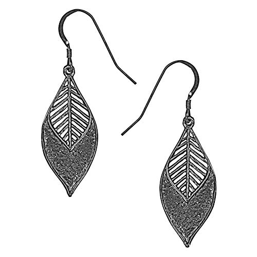Chevron Marquis Leaf Earrings (Antique Silver) by Mercedes Shaffer