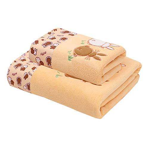 Toallas Baño Toallas de Baño Set Toallitas Toallas de Microfibra Toallas de Baño de Secado Rápido Absorbente Toallas Home Piscina Playa (Paquete de 2) Toalla Microfibra (Color : Yellow)