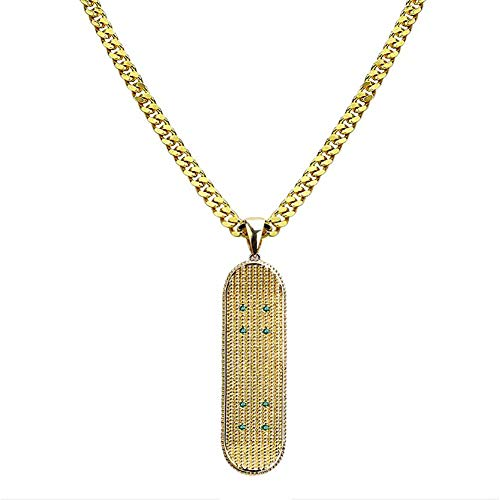 Hip Hop Ubertrieben Trend Halskette Neue Skateboard Anhänger Vergoldung Micro Inlay Zirkonia Mode Accessoires Schmuck Geburtstagsgeschenk für Frau Männer Paar,Gold