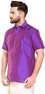 SJS-Men's Half Sleeve Solid Art Silk Shirt (Purple, 36)