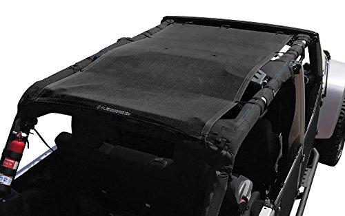 Alien Sunshade Jeep Wrangler JKU (2007-2018) Full Length Sun Shade Mesh Top Cover (Black) – 10 Year Warranty - Blocks UV, Wind, Noise