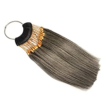 Hair Swatches for Testing Color Real Remy Human Hair 30s/pack Hair Colors Samples with Gold Buckles Hair Color Rings 100% Human Hair Grey Color