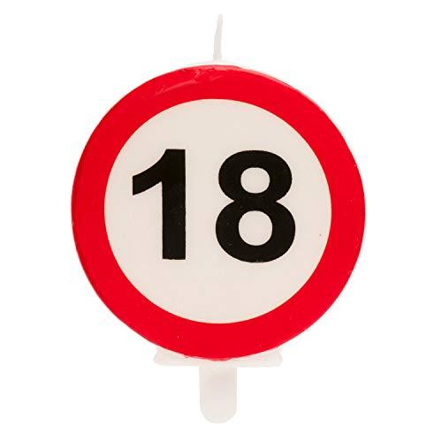 Dekora - Vela Cumpleaños con Señal de Prohibido para Decoracion de Tartas - Numero 18