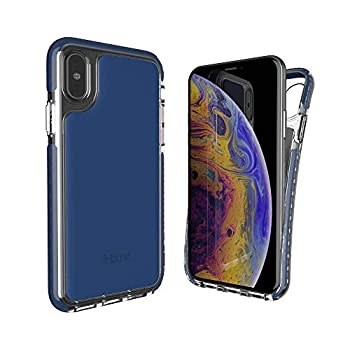 iHome iPhone X/Xs Phone Case  Premium Silicone Lightweight Ultra Slim & Shock Absorbent Velo Protective Case- Wireless Charging Compatible- Blue
