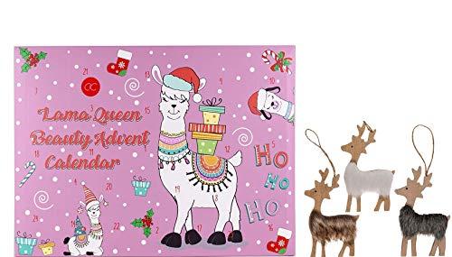 Wellness Beauty cosmetica adventskalender Kerstkalender Lama Queen voor meisjes 2019 met 24 bad- lichaamsverzorging en cosmetica producten voor een gevarieerde en stijlvolle adventstijd