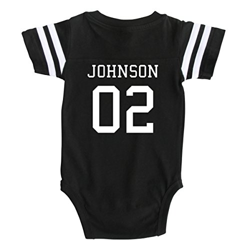 Custom Football Baby Bodysuit Personalized with Name and Number (3-6M (6M), Black)