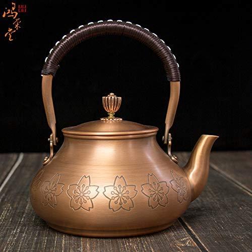 Teakettle - Tetera de cobre hervida (hecha a mano, sin revestimiento, de cobre, 1200 ml), diseño de dragón
