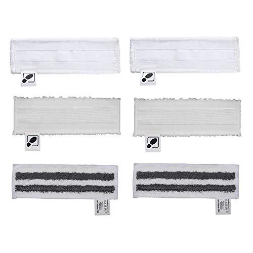 DEYF 2 Neue Mikrofaser-Bodentücher + 2 Frottee-Mikrofaserabdeckungen + 2 Mikrofaser-Schleifboden-Bodentuch-Set für Kärcher-Dampfreiniger SC2, SC 3, SC4, SC5 easyfix-Bodendüse
