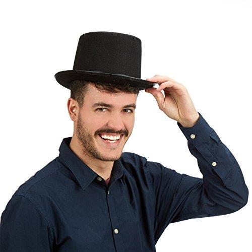 Relaxdays Zylinderhut schwarz, Fasching, Karneval, Zauberer, Einheitsgröße, max. Kopfumfang 59 cm, Gentleman, black