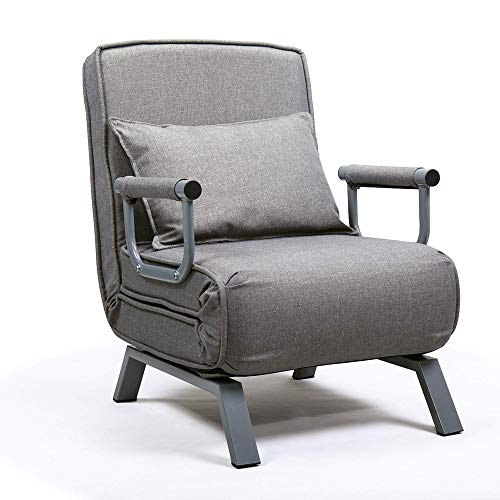 JAXSUNNY Folding Sofa Arm Chair Bed Single Sleeper 5 Position Leisure Recliner Lounge Couch w/Pillow,Gray