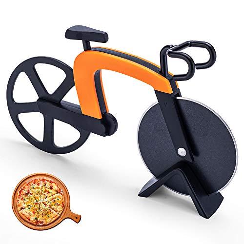 Bligo Fahrrad Pizzaschneider, Antihaftbeschichteter Edelstahl Pizzaroller mit Ständer, Pizza Cutter mit scharfem Schneiderad für Pizza & Teig, Geschenke & Party usw