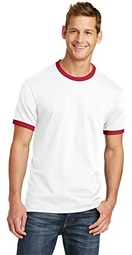 PORT AND COMPANY 54Oz 100% Cotton Ringer Tee (PC54R) White/Red, S