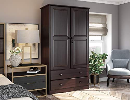 """100% Solid Wood Smart Wardrobe/Armoire/Closet by Palace Imports, Java Color, 40"""" W x 72"""" H x 21"""" D, 1 Clothing Rods, 1 Lock, 2 Drawers Included"""