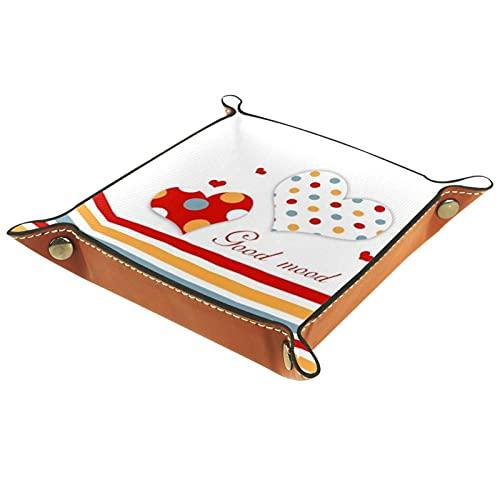 Organizador de cuero con diseño de lunares y líneas de amor con mando a distancia, llaves, relojes, monedero, caja de almacenamiento para mesita de noche, aparador, escritorio, hogar, cocina, oficina