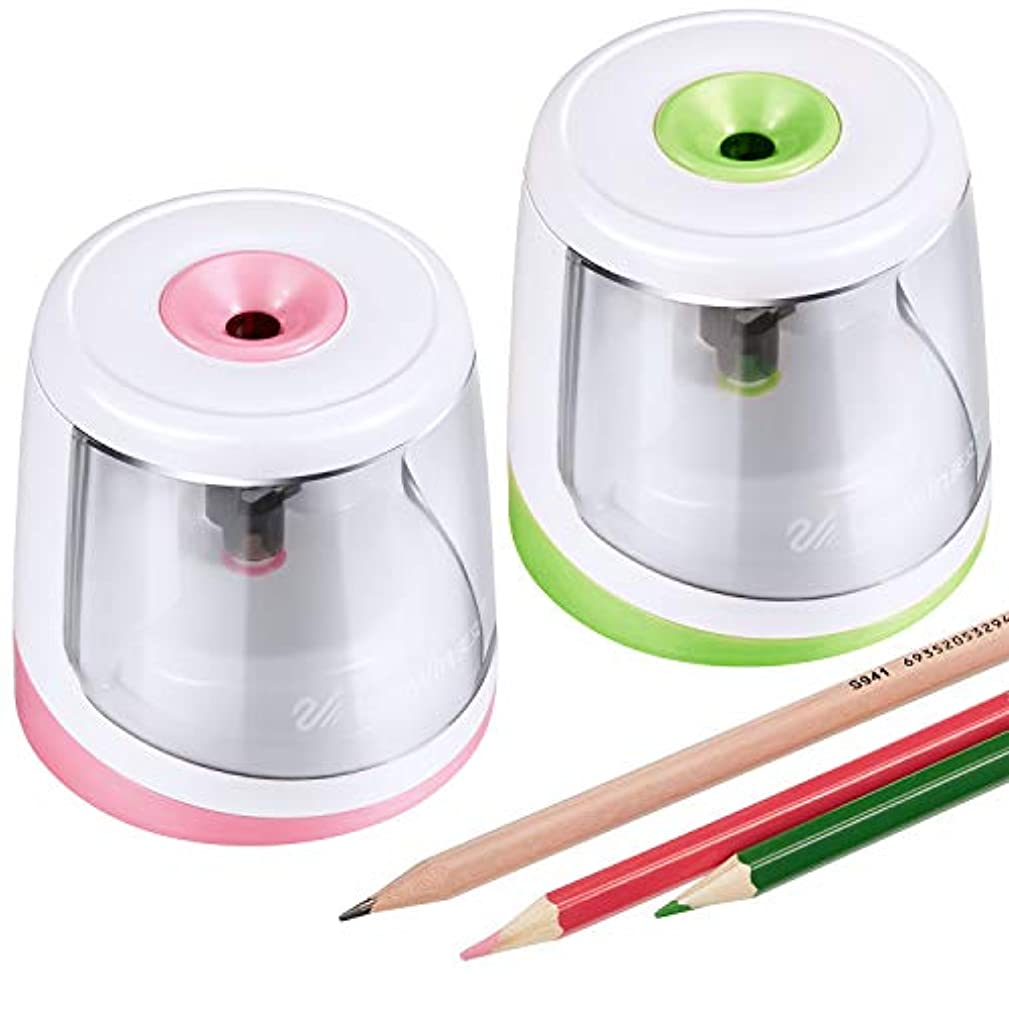 2 Pieces Electric Pencil Sharpener Portable Automatic Pencil Sharpener Battery Operated Pencil Sharpener for School Home Office Painting Writing