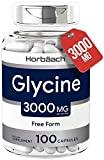 Glycine 3000 mg 100 Capsules | Non-GMO, Gluten Free Supplement | by Horbaach