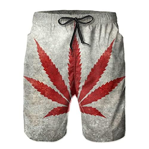 HARLEY BURTON Pantalones cortos de natación para hombre, diseño de hoja de marihuana, de secado rápido, con cordón ajustable