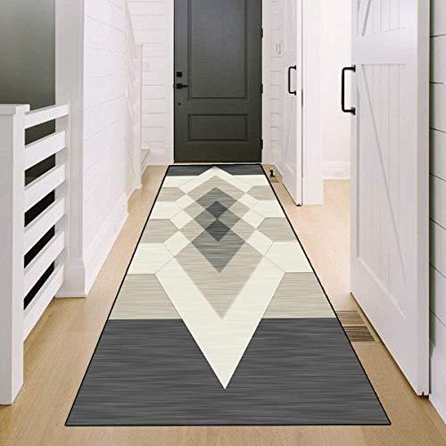 SESOUK Küchen Teppiche Läufer, Flur Läufer Teppich Grau Beige Geometrisch Lang Für Küche Vorzimmer Eingangsbereich Schlafzimmer - YYDT (Color : Gray, Size : 100×300cm)