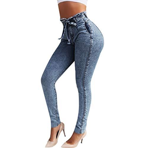FONMA Women Elastic Denim Distressed Slim Fit Jeans Comfy Stretch Skinny Jeans Blue Black