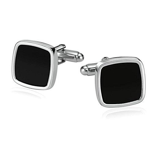 SonMo 1 Paar Edelstahl Manschettenknopf Herren Personalisiert Schwarz Quadrat Manschettenknöpfe Lustig Silber 1.5×1.5 cm für Business