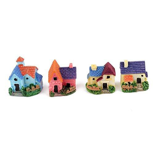 OULII 4pcs Miniature Dollhouse Bonsai Craft jardin résine paysage Villa BRICOLAGE Decor, Noël cadeau d'anniversaire pour enfants