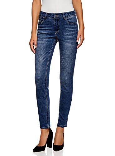 oodji Ultra Donna Jeans a Vita Regular con Rivetti, Blu, 27W / 32L (IT 42 / EU 38 / S)