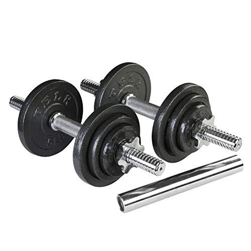 TELK Adjustable Dumbbells, (45 LBS Pair + Chrome Barbell) with Cast Iron and Secure Collars