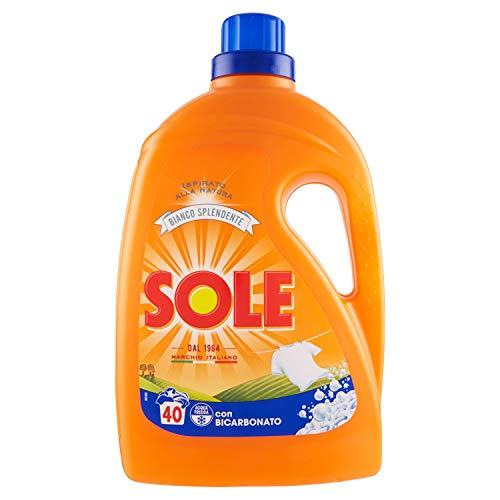 Sole Bianco Splendente Detersivo Liquido per Lavatrice con Bicarbonato di Sodio, 2L