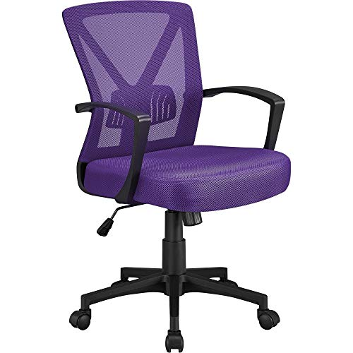 Topeakmart Mesh Office Chairs Ergonomic Desk Chairs with Arms, Adjustable Lumbar Support Computer Chairs, Mid Back Swivel Rolling Chairs Purple