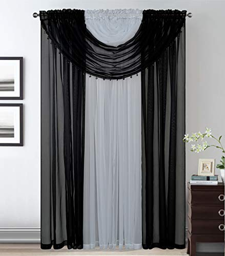 Elegant Home Complete Multicolor Window Sheer Curtain All-in-One Set with 4 Panels and 2 Valances with with Crystal Beads for Living Room, Dining Room, Or Any Other Windows- Laura (Black / White)