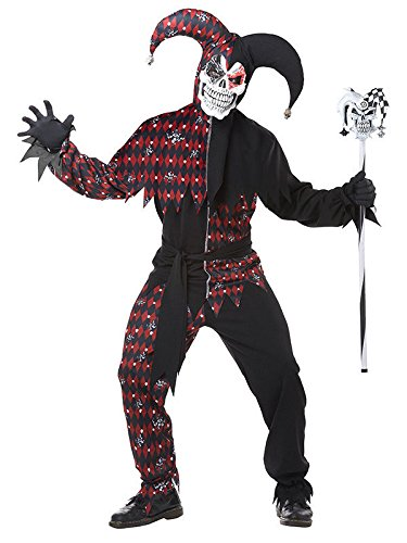KULTFAKTOR GmbH Killer-Clown-Kostüm für Herren Harlekin Halloween-Kostüm schwarz-rot XL
