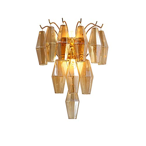 Wandlamp, creatieve wandlamp slaapkamer nachtkastje rook grijs ruiten glas decoratieve wandlamp