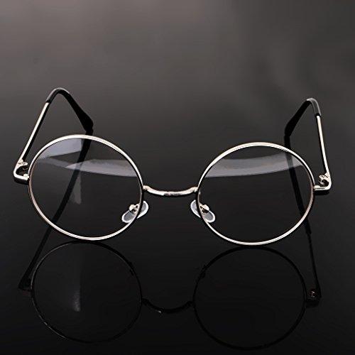 harayaa Vintage Hombre Mujer Anteojos Montura Gafas Retro Lentes Redondas - Plata