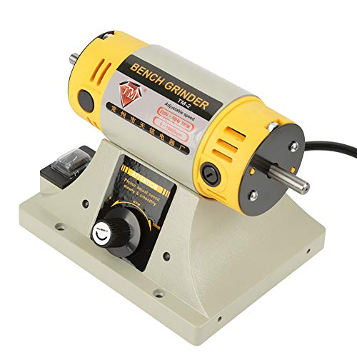 Mini Torno de metal, 220V 350W Amoladora eléctrica Máquina de pulido Amoladora de banco multiusos con husillo cónico para moler y pulir madera