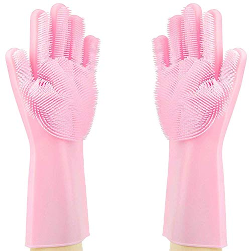 Supreme Mall Silicone Heat Resistant Rubber Dish Washing Gloves with Wash Scrubber (Medium)